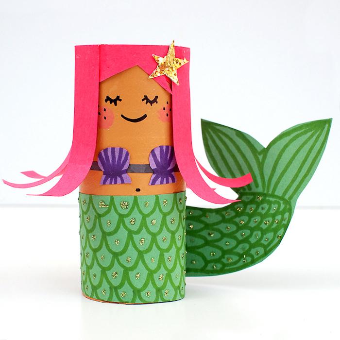 DIY Meerjungfrau aus Klopapierrolle, Haare und Schwanz aus Papier, Glitzer Stern