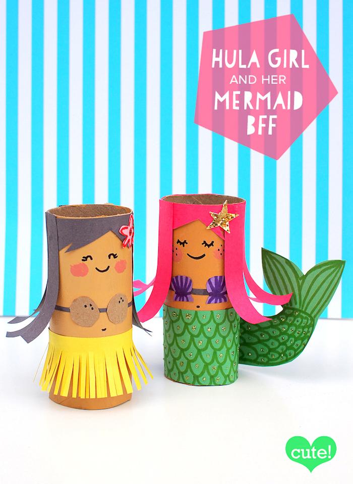 Bastelideen mit Klorollen für Kinder, DIY Meerjungfrau und Hawaiianerin aus Klopapierrollen
