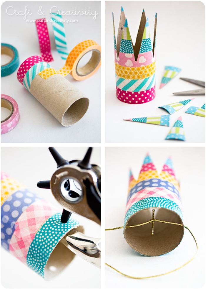 DIY Krone in vier einfachen Schritten, aus Klopapierrolle, mit Washitape dekorieren