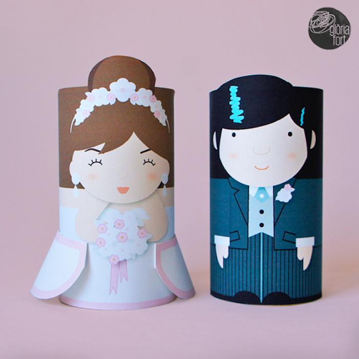 Hochzeitsgeschenke für Gäste basteln aus Klopapierrollen, Braut und Bräutigam aus Papier