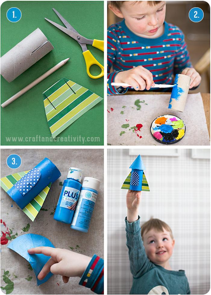DIY Ideen für Kleinkinder, Rakete selber machen aus Klopapierrolle, Anleitung in vier Schritten