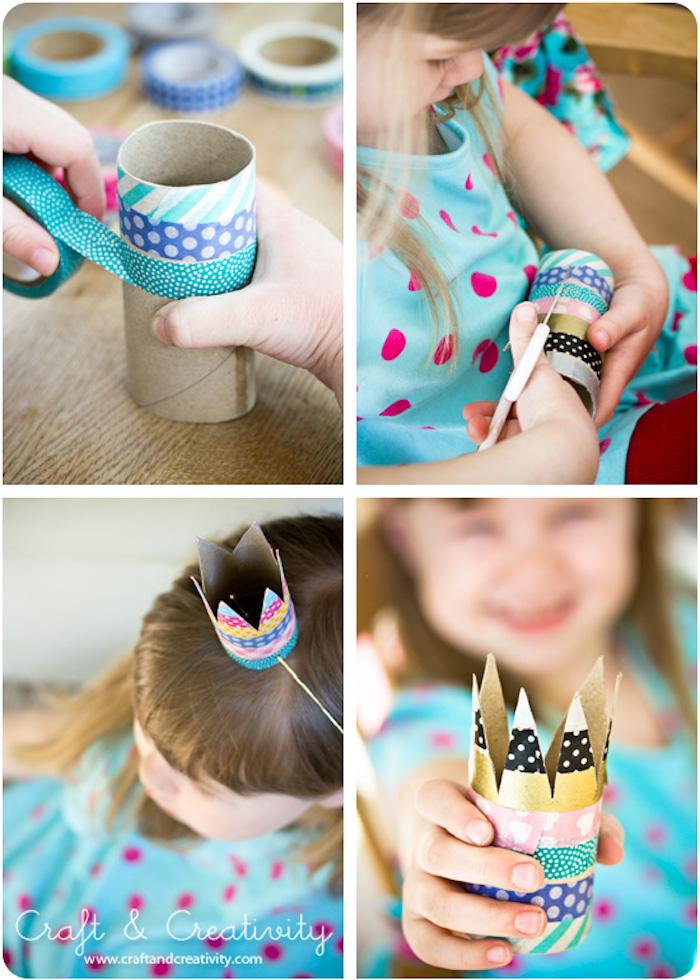 Klorolle mit Washi Tape dekorieren, Krone mit Gummiband selber basteln, DIY Idee für Kinder
