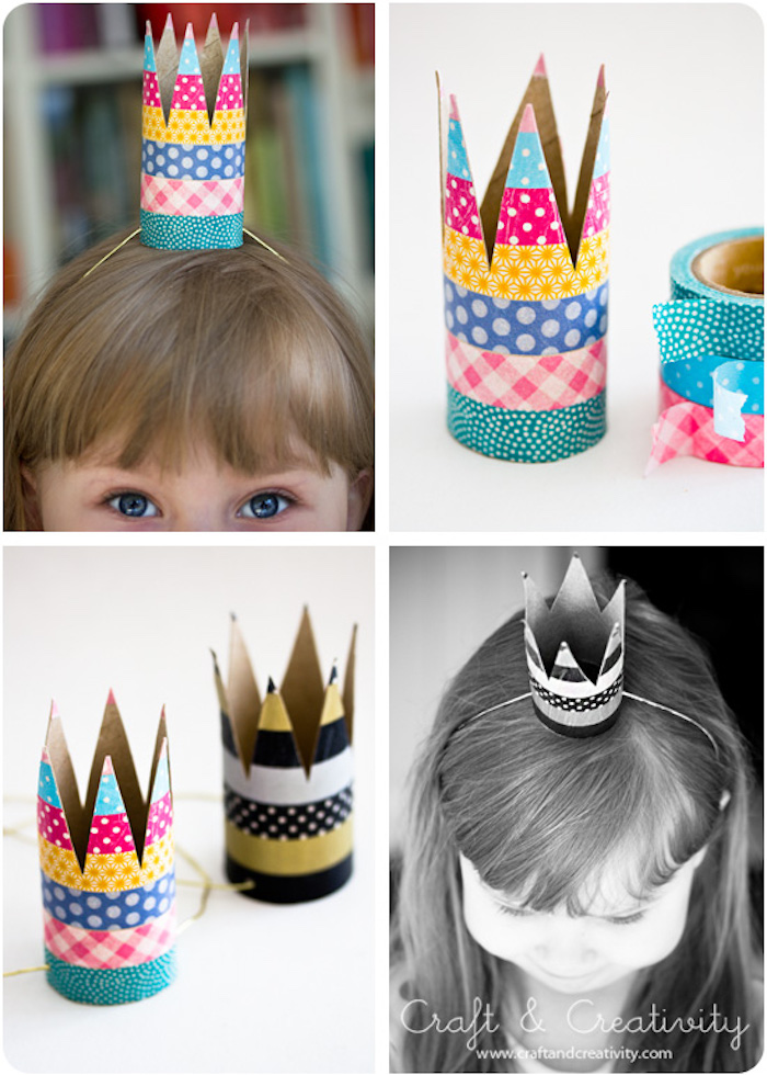 Bunte Krone mit Gummiband, Klopapierrolle mit Washi Tape dekorieren