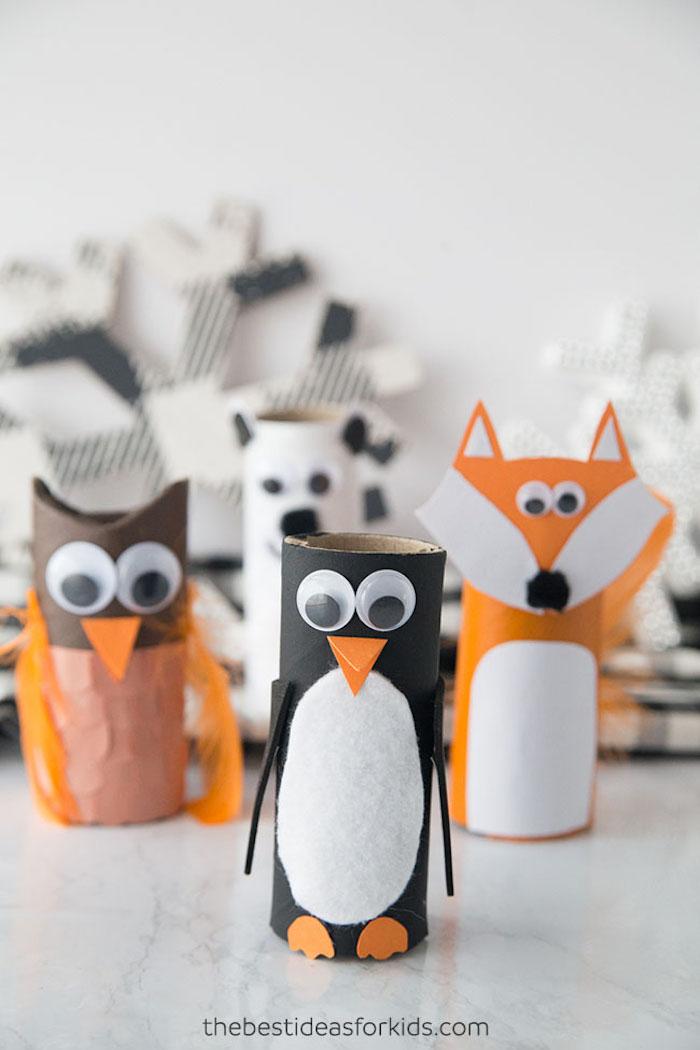 DIY Tiere aus Klopapierrollen, Pinguin Eule und Fuchs basteln mit Kleinkindern