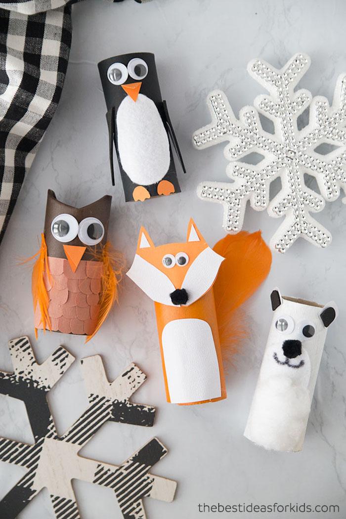 DIY Tiere aus Klopapierrollen, Eule Pinguin Fuchs und Eisbär, Basteln für Weihnachten mit Kindern