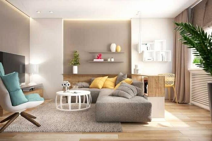 Kombination von gelb und blau, kleines Wohnzimmer einrichten, beige Farben, Pflanzen