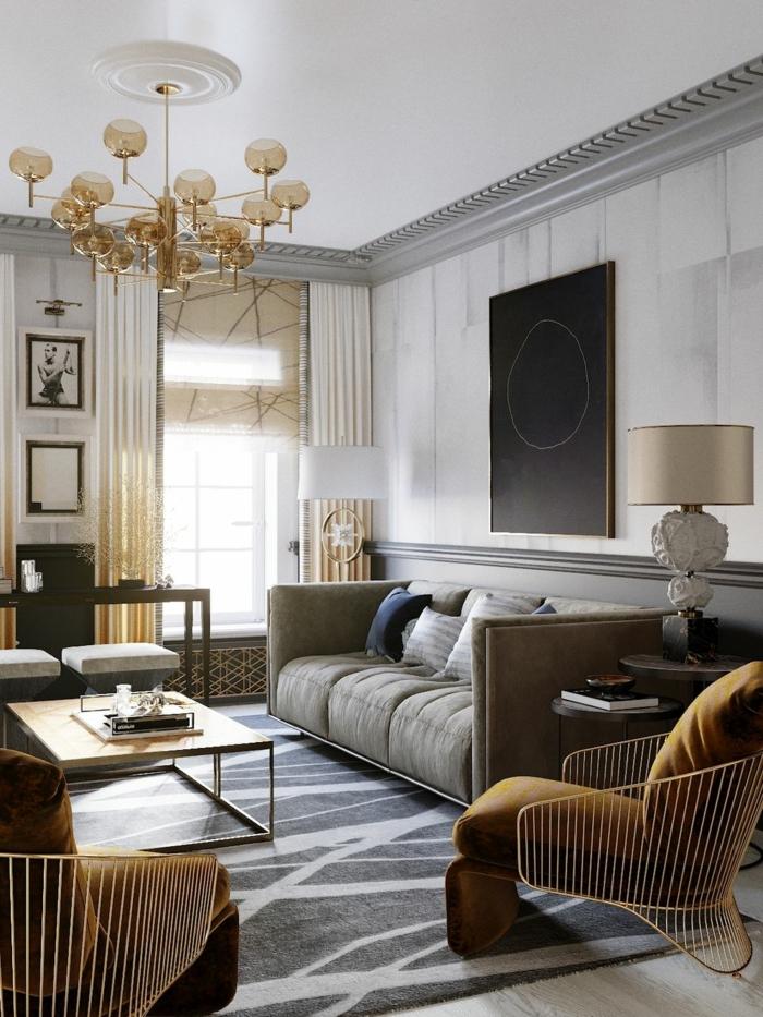 moderne Gestaltung einer Wohnzimmers mit gelb Motive, artistisches Gemälde an der Wand, Einrichtungsideen Wohnzimmer
