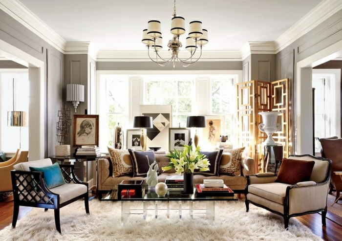 maximalistischer Stil, viele Bilder und Zeichnungen, Wohnzimmer einrichten modern, moderne Möbel