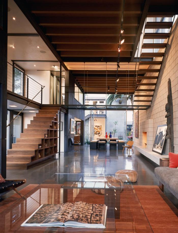 luxuriöser industrialer Stil, Treppen aus Holz, Wohnzimmer einrichten modern, groß