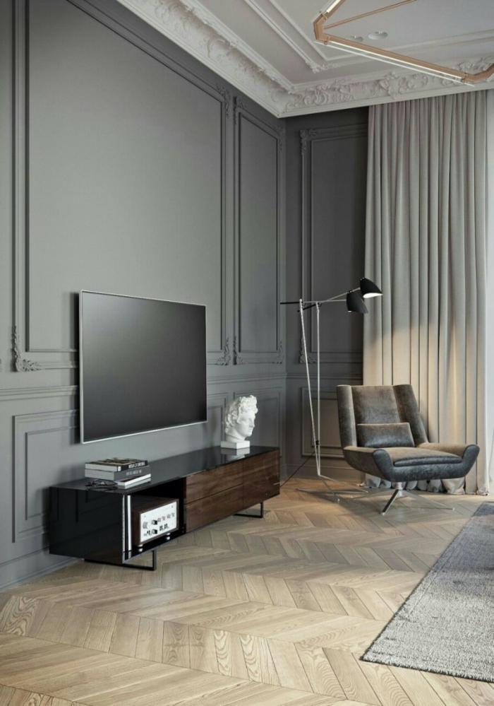 luxuriöse Einrichtung, minimalistische Inneneinrichtung, grünliche Farben, Holzboden, Einrichtungsideen Wohnzimmer