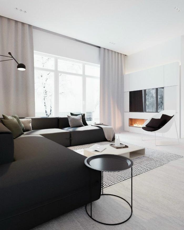 Luxus, Minimalismus, moderne Möbel, große Fenster, Kamin, Wohnzimmer einrichten Beispiele