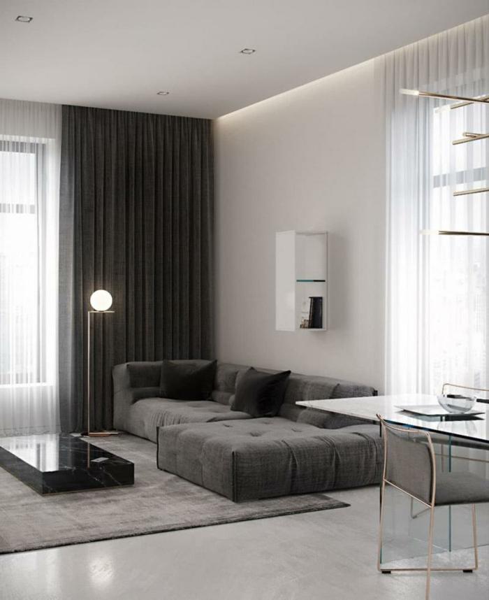 luxuriöse Wohnzimmereinrichtung, graue und helle Farben, moderne Wohnzimmermöbel