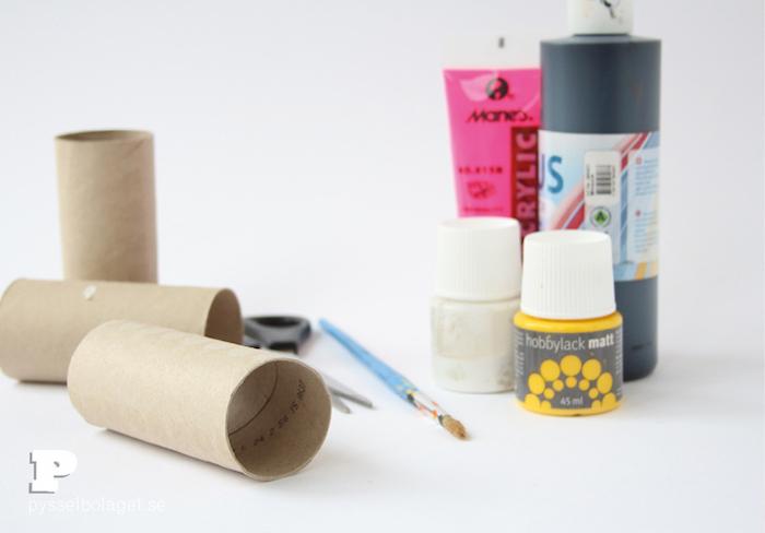 Tiere aus Klorollen basteln, Acrylfarben und Pinsel, Klorollen und Schere
