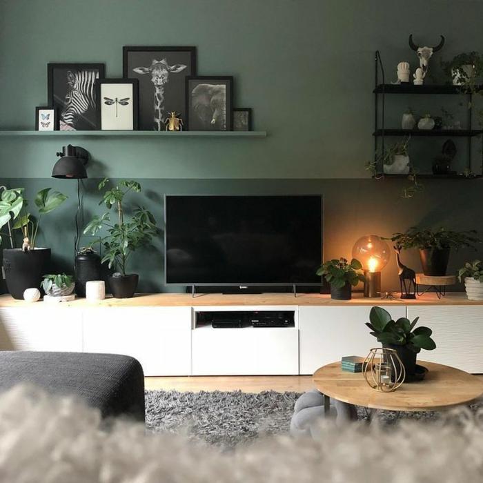 Inneneinrichtung Idee in grün, schwarz-weiße Bilder an grüner Wand, flaumiger Teppich, Wohnzimmer gestalten