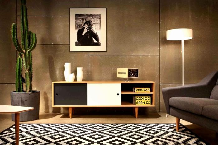 Retro Einrichtung, schwarz-weiße Fotografie an der Wand, geometrischer Teppich, Wohnzimmer gestalten