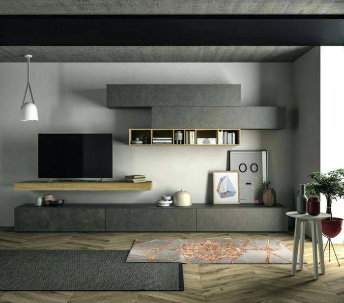 luxuriös und schlicht eingerichtetes Wohnzimmer, artistische Kunst, zwei Teppiche, moderne Wohnzimmermöbel