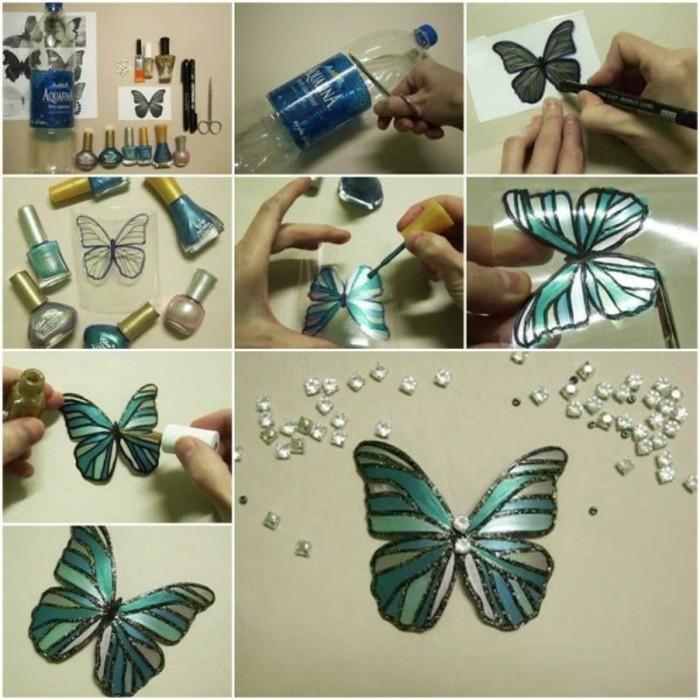 Bastelanleitung-Schmetterling-aus-einer-Flasche-grün