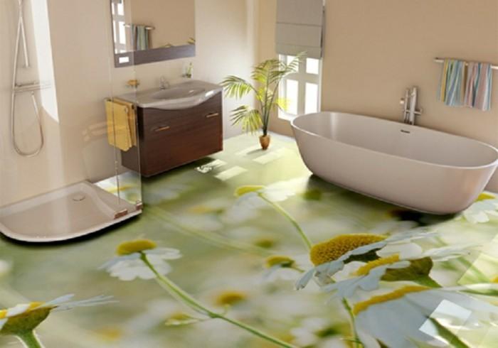 Deko-Badezimmer-mit-schönen-Blumen