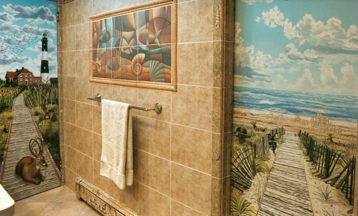 Deko-Badezimmer-verschiednen-Wandtattoo-für-die-beiden-Wänden