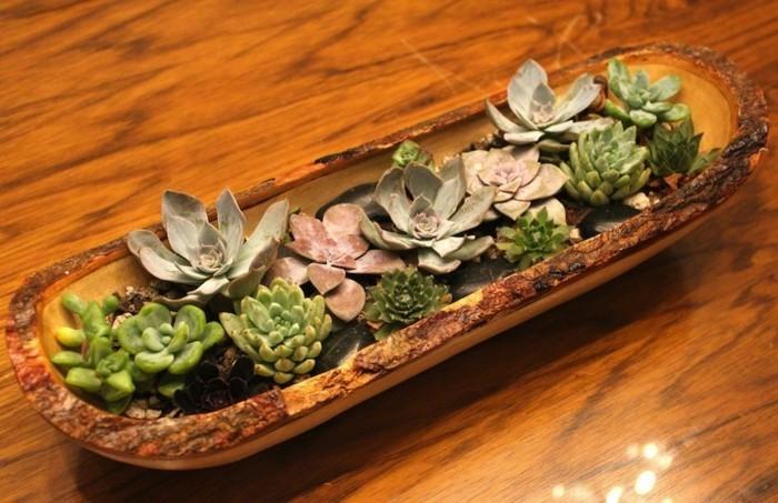 Tischdeko mit holz gem tliche atmosph re zum feiern for Tischdeko blumentopf