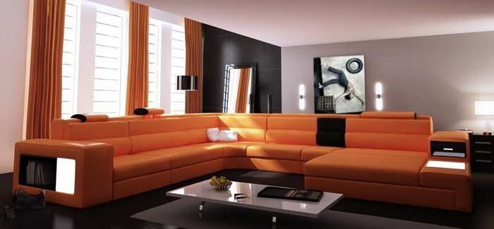 Farben Fr Wohnzimmer In Orange Ein Aufflliges Interieur