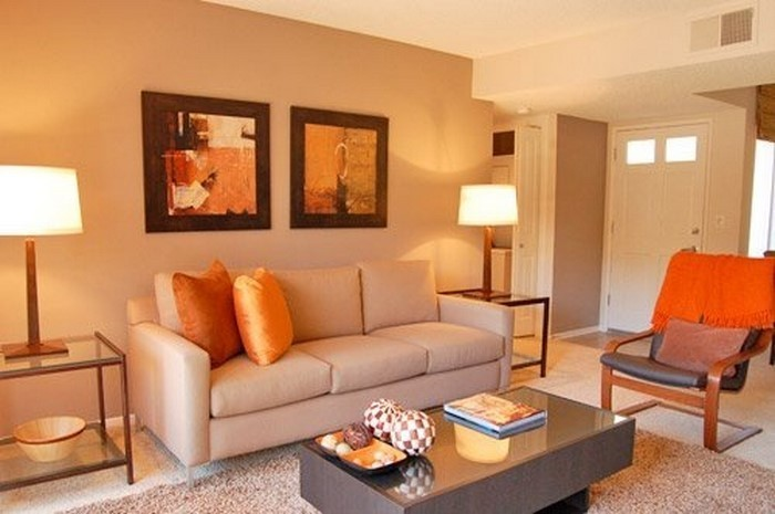 Farben-für-Wohnzimmer-in-Orange-Ein-cooles-Interieur