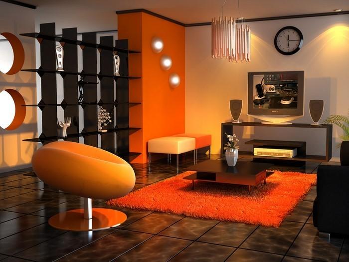 Farben-für-Wohnzimmer-in-Orange-Ein-verblüffendes-Interieur