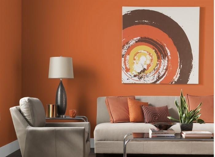 Farben-für-Wohnzimmer-in-Orange-Eine-auffällige-Ausstattung