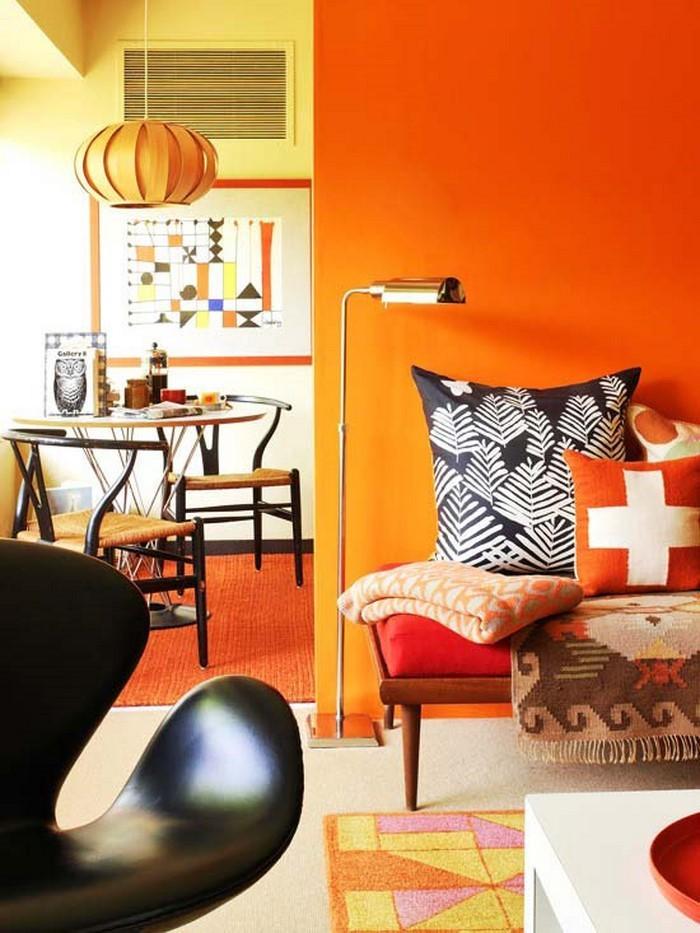 Farben-für-Wohnzimmer-in-Orange-Eine-auffällige-Deko