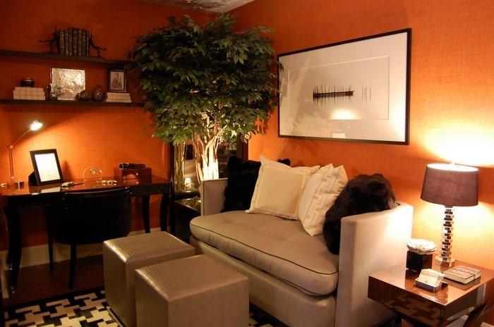 Farben-für-Wohnzimmer-in-Orange-Eine-auffällige-Dekoration