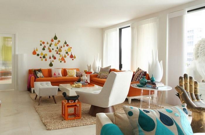 Farben für Wohnzimmer in Orange: 80 Wohnideen!