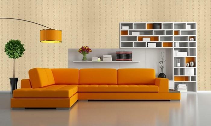 Farben-für-Wohnzimmer-in-Orange-Eine-super-Ausstattung