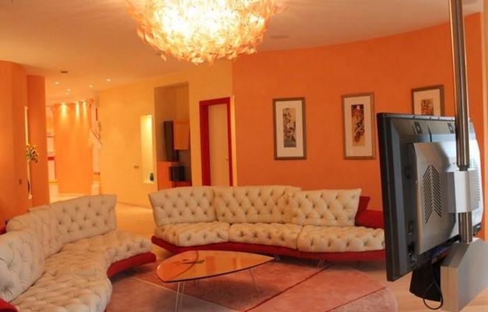 Wohnzimmer Orange Schwarz