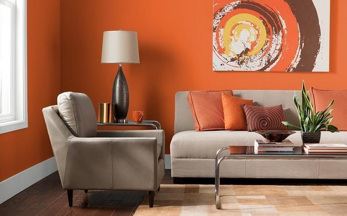 Farben-für-Wohnzimmer-in-Orange-Eine-verblüffende-Deko