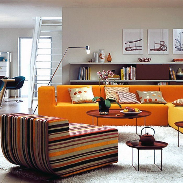 farben f r wohnzimmer in orange 80 wohnideen. Black Bedroom Furniture Sets. Home Design Ideas