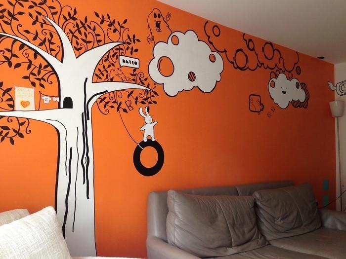 Farben-für-Wohnzimmer-in-Orange-Eine-wunderschöne-Deko