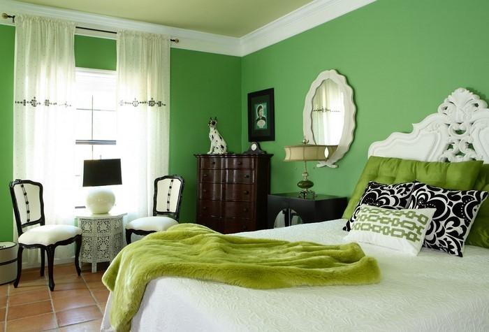 Farben-fürs-Schlafzimmer-Grün-Eine-auffällige-Gestaltung