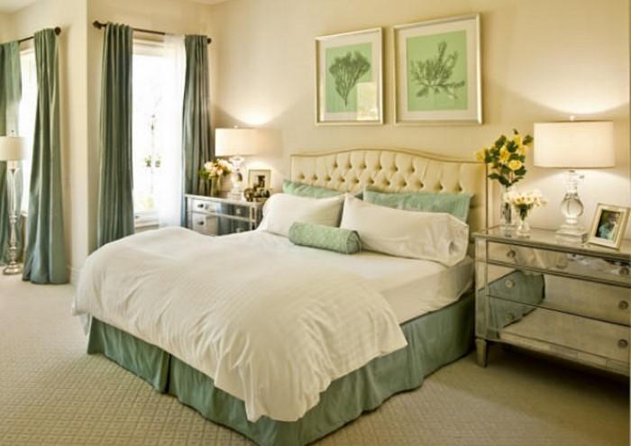 frische farben f rs schlafzimmer 59 wohnideen in gr n. Black Bedroom Furniture Sets. Home Design Ideas