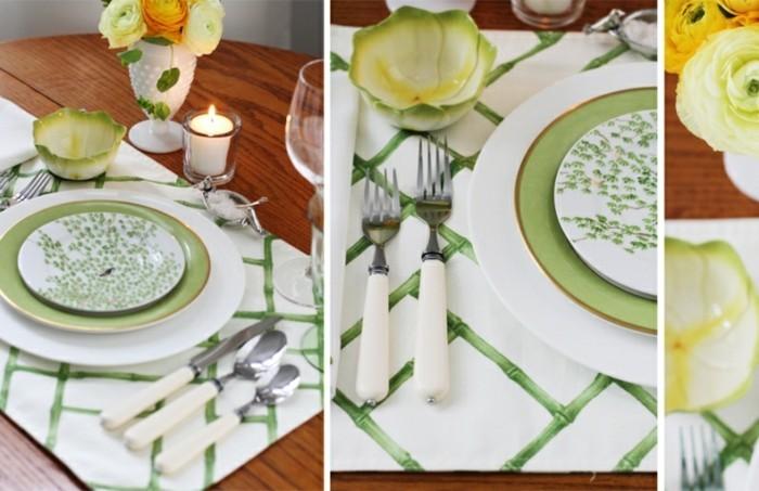 Gedeckte-Tafel-mit-grünen-Motiven-auf-dem-Teller-in-Detail