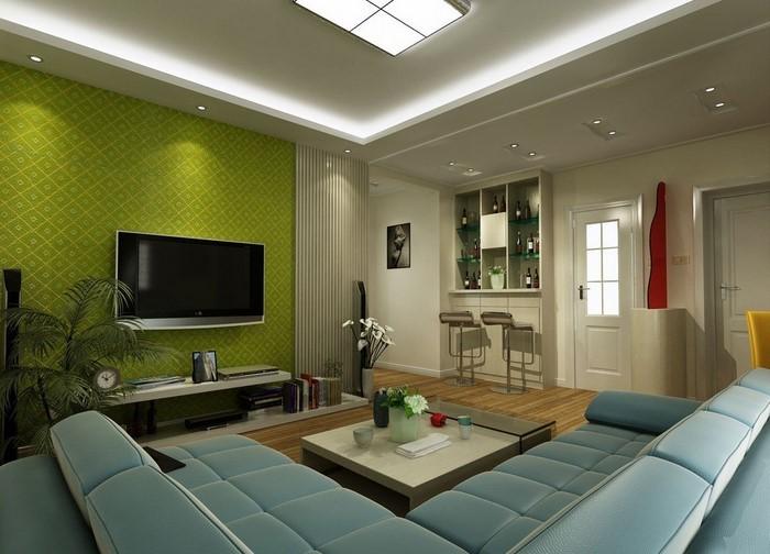 Wohnzimmer Farbgestaltung Grün