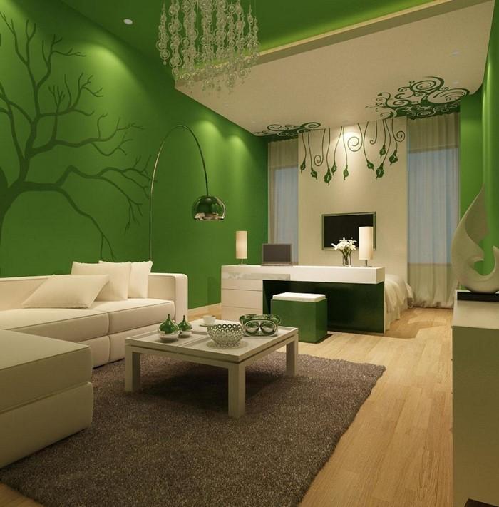 Grünes-Wohnzimmer-Design-Eine-auffällige-Deko
