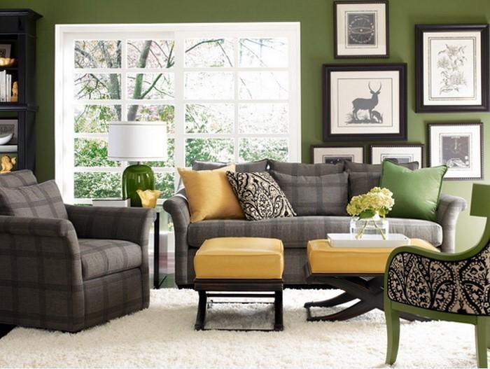 grau grünes wohnzimmer:Grünes Wohnzimmer Design: Traditionelles Wohnzimmer