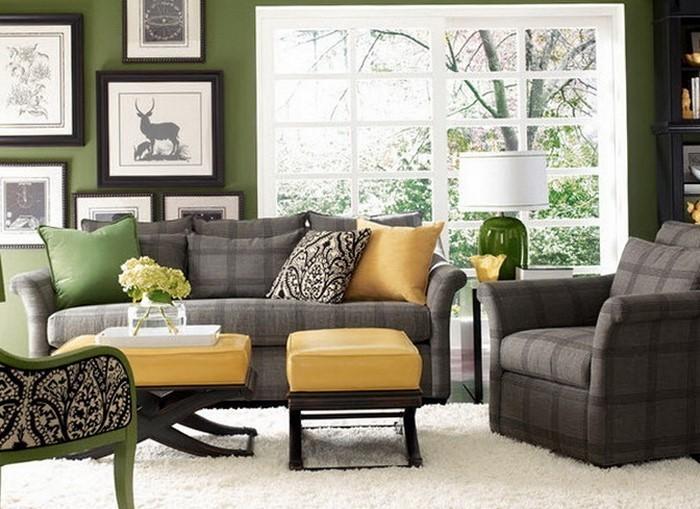 grau grünes wohnzimmer:Grünes Wohnzimmer Design: Grau liebt Grün