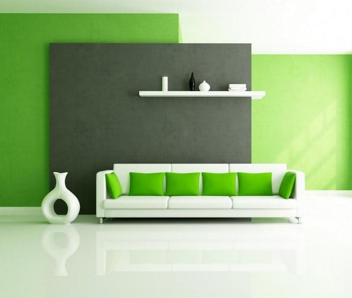 Wohnzimmer grun streichen  Grünes Wohnzimmer Design: 76 tolle Tipps und Tricks