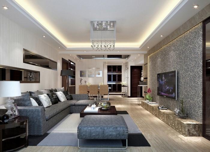 grau grünes wohnzimmer:Grünes Wohnzimmer Design: Wohnzimmer mit grünen Akzenten einrichten