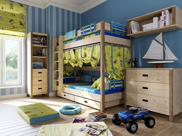 Kinderzimmer-Ideen-mit-Bett-von-Vorhängen