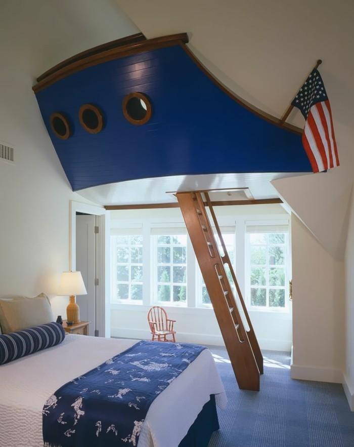 Kinderzimmer-Junge-Platz-zum-Spieler-wie-ein-Kapitän