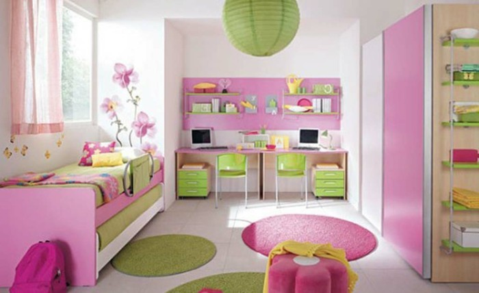 Kinderzimmer-Mädchen-grün-und-rosa