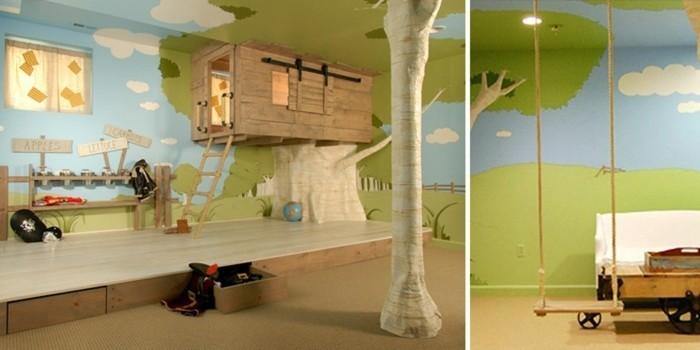 Kinderzimmergestaltung-wie-einen-Baumhaus-und-Schaukel