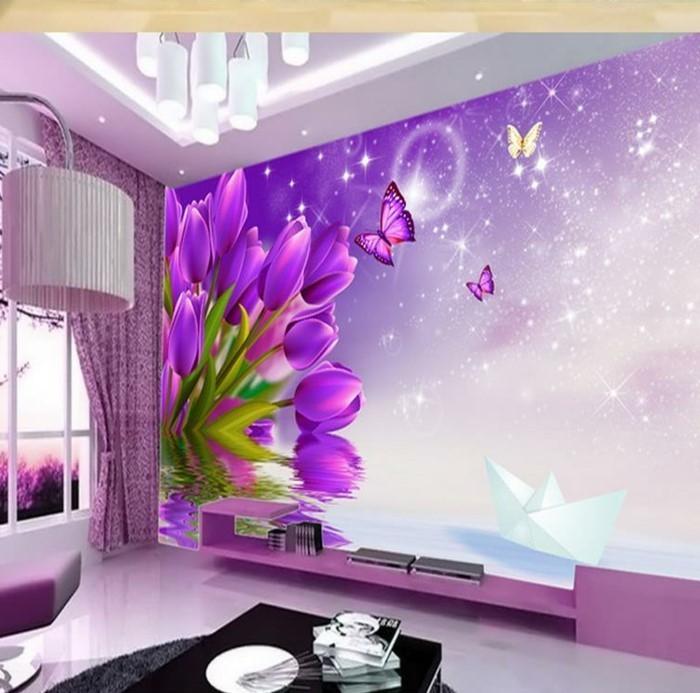 Lila-Farbe-Tulpen-und-Schmetterlingen